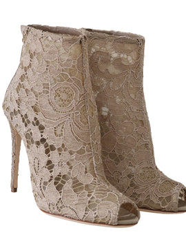 Dolce & Gabbana Beige Leather Cotton Lace Booties