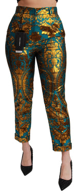 Blue Gold Jacquard Trousers Pants
