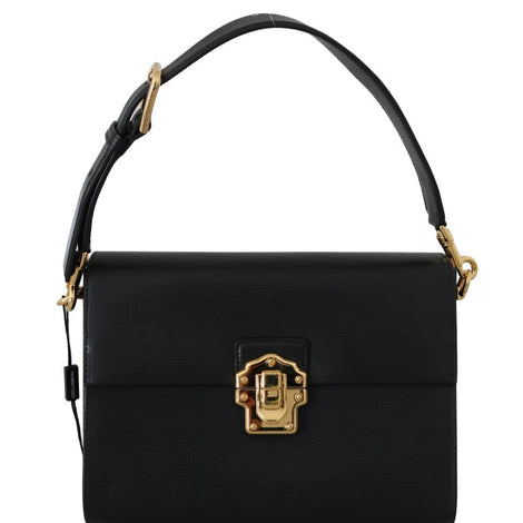 Dolce & Gabbana Black Leather LUCIA Shoulder Borse Sicily Purse