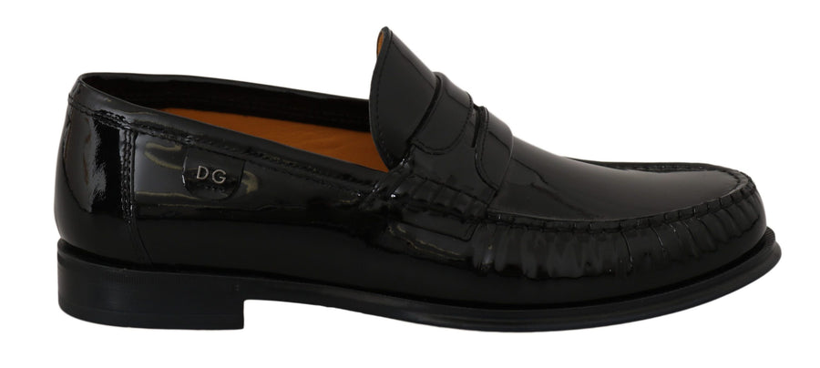 Dolce & Gabbana Black Patent Leather Moccasins Dress Shoes