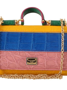 Purse Sicily VON Multicolor Crocodile Skin Hand Bag