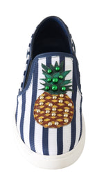 Dolce & Gabbana Blue White Leather Pineapple Loafers - Women - Shoes - Flats - Dolce & Gabbana | Gethuda Fashion