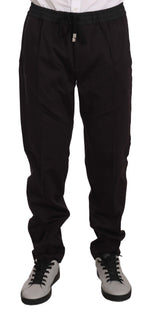 Dolce & Gabbana Maroon Brown Cotton Casual Training Pants - Men - Apparel - Trousers - Dolce & Gabbana | Gethuda Fashion