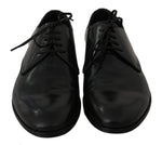 Dolce & Gabbana Blue Leather Derby Formal Dress Shoes - Men - Shoes - Oxfords - Dolce & Gabbana | Gethuda Fashion