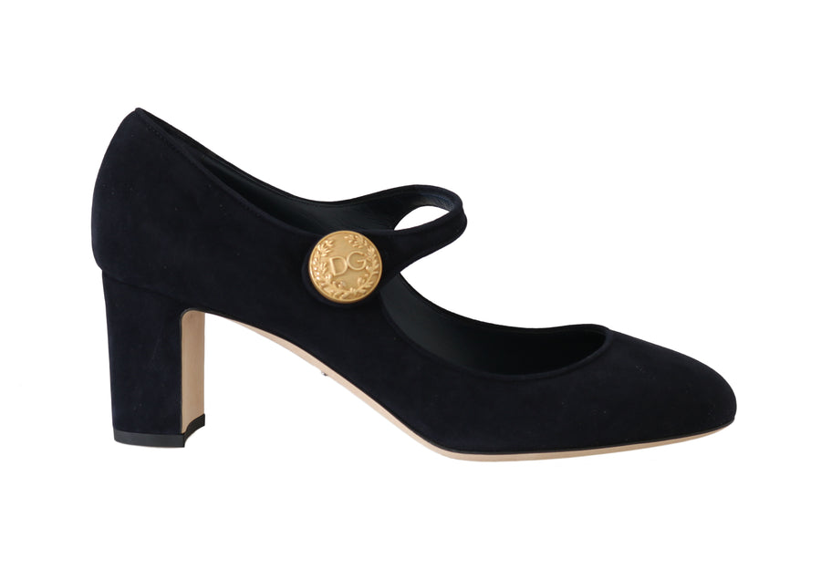 Dolce & Gabbana Blue Suede Gold Coin Mary Jane Pumps
