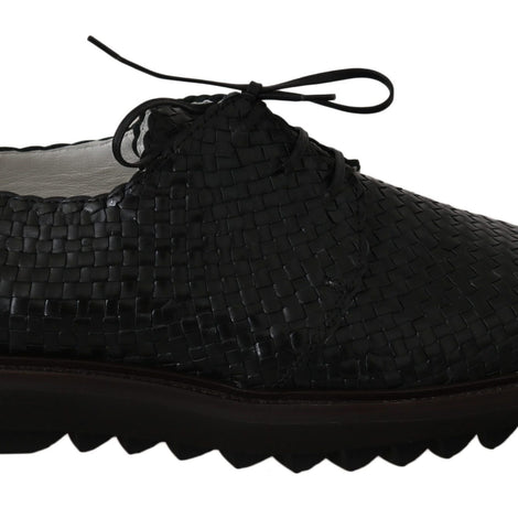 Dolce & Gabbana Black Woven Buffalo Leather Dress Shoes - Men - Shoes - Oxfords - Dolce & Gabbana | Gethuda Fashion