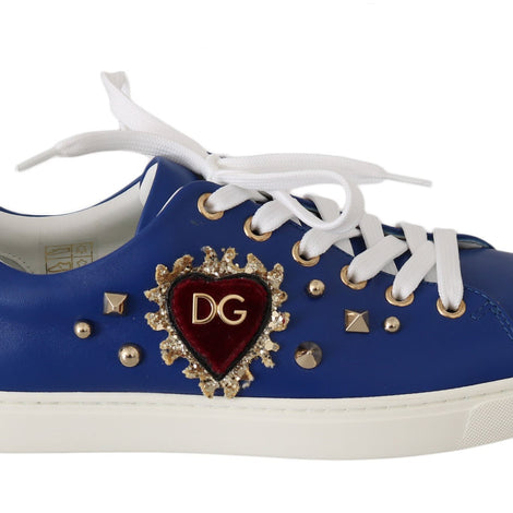 Dolce & Gabbana Blue Leather Gold Red Heart  Shoes Sneakers