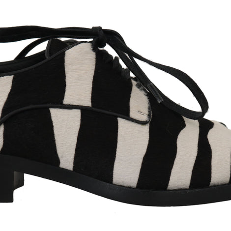Dolce & Gabbana Black White Zebra Pony Hair Oxfords - Women - Shoes - Flats - Dolce & Gabbana | Gethuda Fashion