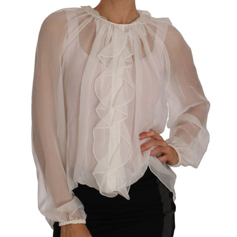 Dolce & Gabbana White Silk Ruffled Top Shirt