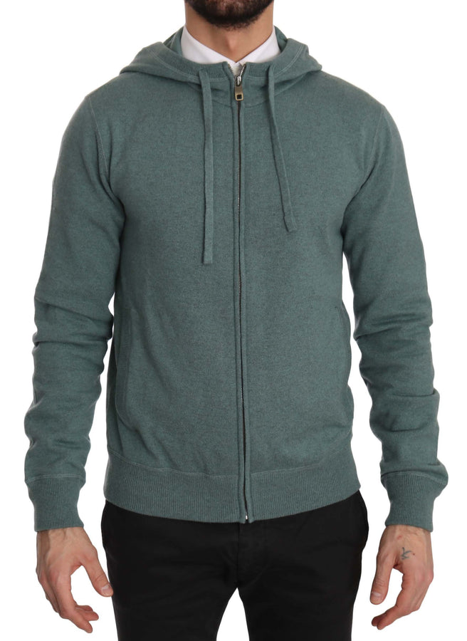 Dolce & Gabbana Blue 100% Cashmere Zip Up Hooded Sweater