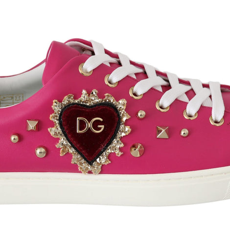 Dolce & Gabbana Pink Leather Gold Red Heart Shoes Sneakers - Women - Shoes - Sneakers - Dolce & Gabbana | Gethuda Fashion