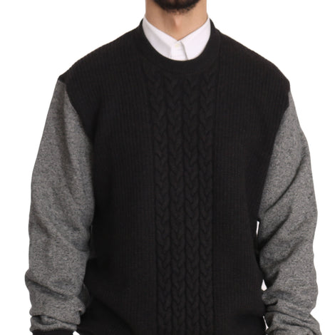 Dolce & Gabbana Black Gray Wool Crewneck Pullover Sweater - Men - Apparel - Sweaters - Pull Over - Dolce & Gabbana | Gethuda Fashion