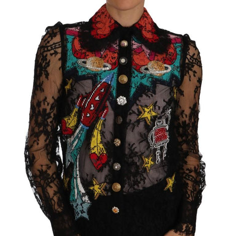 Dolce & Gabbana Black Lace Crystal SPACE Shirt