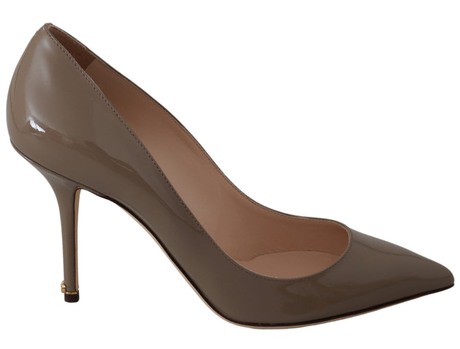 Beige Patent 100% Leather Pumps Heels