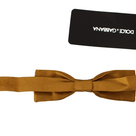 Dolce & Gabbana Bow Tie Men Mustard Gold Silk Adjustable Neck Papillon - Men - Accessories - Ties - Dolce & Gabbana | Gethuda Fashion