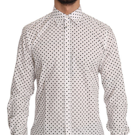 Dolce & Gabbana Black Polka Dot MARTINI White Cotton Shirt - Men - Apparel - Shirts - Dress Shirts - Dolce & Gabbana | Gethuda Fashion