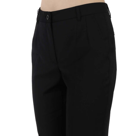 Dolce & Gabbana Black Wool Blend Cropped Trouser Tapered Pants