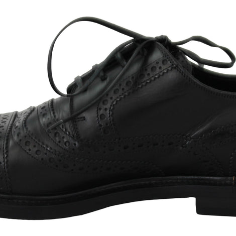 Dolce & Gabbana Black Leather Brogue Derby Dress Formal Shoes - Men - Shoes - Oxfords - Dolce & Gabbana | Gethuda Fashion