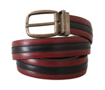 Dolce & Gabbana Black Bordeaux  Leather Brushed Buckle  Belt - Men - Accessories - Belts - Dolce & Gabbana | Gethuda Fashion