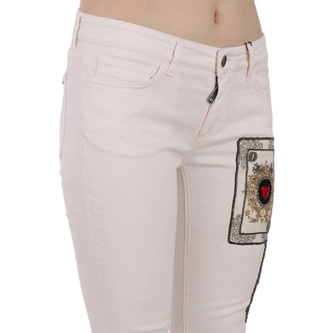 Dolce & Gabbana White Queen Of Hearts White Skinny Jeans - Women - Apparel - Denim - Jeans - Dolce & Gabbana | Gethuda Fashion