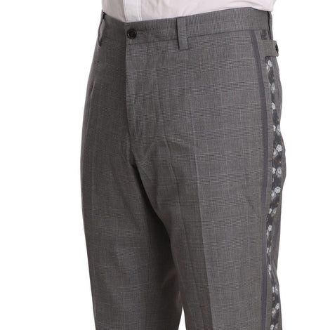 Dolce & Gabbana Gray Cotton Patterned Stripe Trousers Pants
