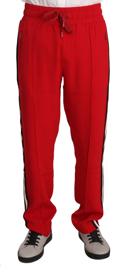 Dolce & Gabbana Red Cotton Stripe Casual Sweatpants - Men - Apparel - Trousers - Dolce & Gabbana | Gethuda Fashion