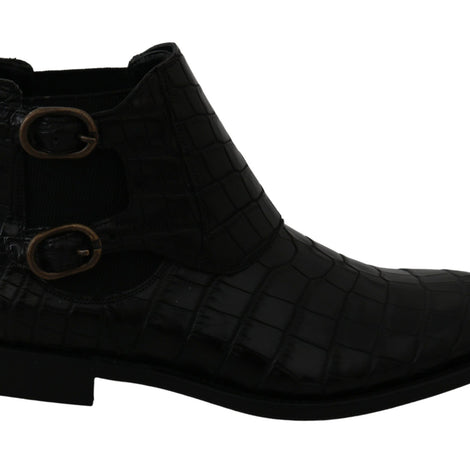 Black Crocodile Leather Derby Boots Shoes