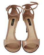 Dolce & Gabbana Beige Leather Stiletto Sandals Shoes
