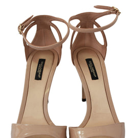 Dolce & Gabbana Beige Leather Stiletto Sandals Shoes - Women - Shoes - Sandals - Dolce & Gabbana | Gethuda Fashion