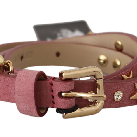 Dolce & Gabbana Pink Leather Crystals Studs Charms Belt - Women - Accessories - Belts - Dolce & Gabbana | Gethuda Fashion