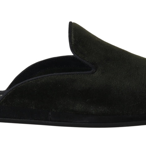 Dolce & Gabbana Green Velvet Suede Slides Slippers - Men - Shoes - Sandals - Dolce & Gabbana | Gethuda Fashion