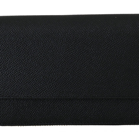 Dolce & Gabbana Black Dauphine Leather Zipper Continental Women Wallet