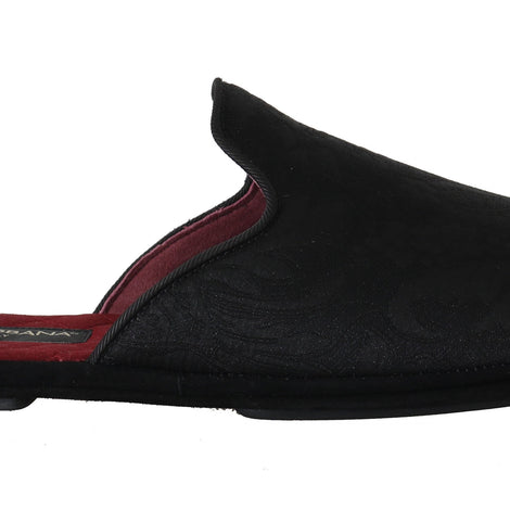 Dolce & Gabbana Black Brocade Suede Slides Slippers - Men - Shoes - Sandals - Dolce & Gabbana | Gethuda Fashion