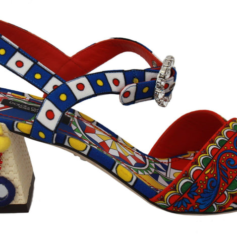 Dolce & Gabbana Multicolor Carretto Embellished Sandals Shoes