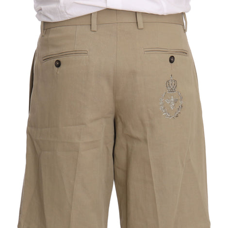 Dolce & Gabbana Beige Cotton Linen Royal Bee Shorts  Chinos - Men - Apparel - Shorts - Casual - Dolce & Gabbana | Gethuda Fashion