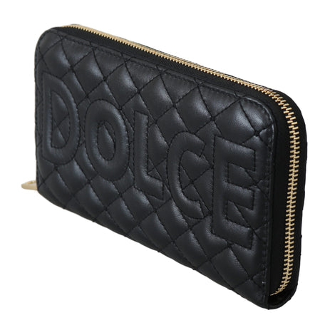 Dolce & Gabbana Black Leather Quilted Clutch Zipper Continental Wallet