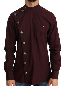 Dolce & Gabbana Bordeaux Cotton Silver Buttons Shirt