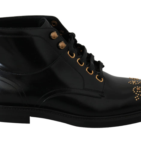 Black Classy Mens Leather Boots Shoes