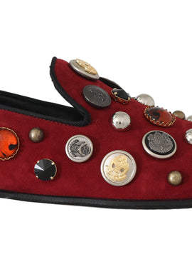Dolce & Gabbana Red Suede Crystal Buttons Loafers