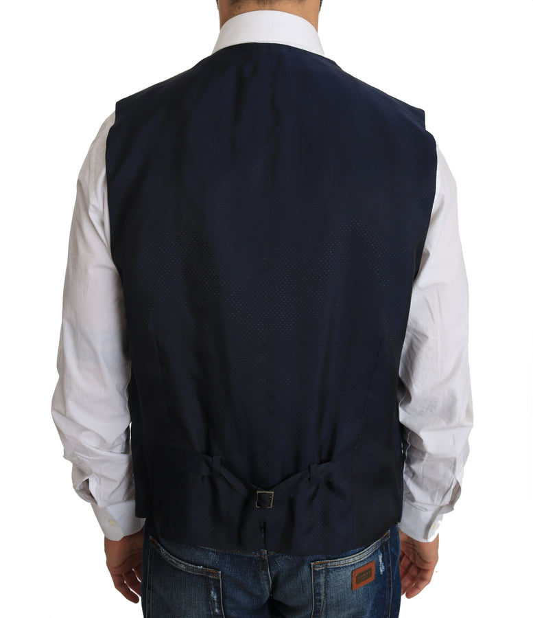 Dolce & Gabbana Blue Wool Dress Waistcoat Vest - Men - Apparel - Suits - Vest - Dolce & Gabbana | Gethuda Fashion