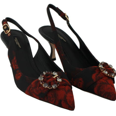 Dolce & Gabbana Red Roses Black Crystal Slingbacks Shoes - Women - Shoes - Pumps - Dolce & Gabbana | Gethuda Fashion