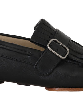 Dolce & Gabbana Black Leather Loafers Moccasin Slides