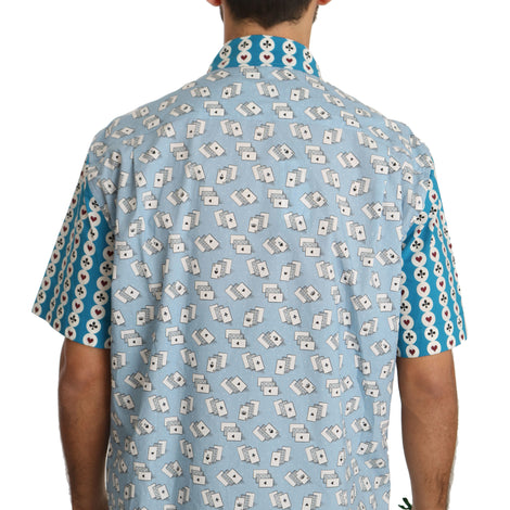 Dolce & Gabbana Blue Deck Of Card Formal Cotton Dress Shirt - Men - Apparel - Shirts - Dress Shirts - Dolce & Gabbana | Gethuda Fashion