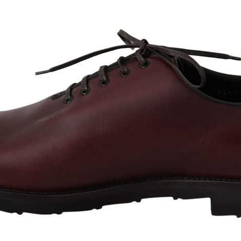 Dolce & Gabbana Bordeaux Leather Derby Dress Formal Shoes - Men - Shoes - Oxfords - Dolce & Gabbana | Gethuda Fashion