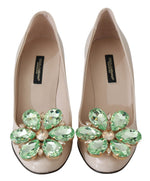 Beige Leather Green Crystal Pumps Shoes