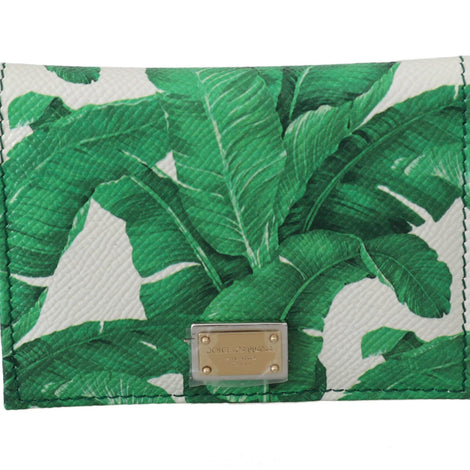 Dolce & Gabbana White Green Banana Leaf Print Bifold Card Case Wallet