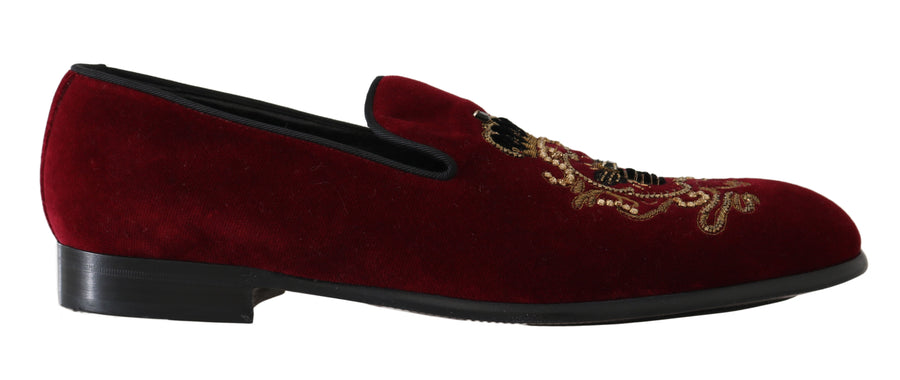 Dolce & Gabbana Red Velvet Crystal Gold Bee Loafers - Men - Shoes - Loafers Drivers - Dolce & Gabbana | Gethuda Fashion