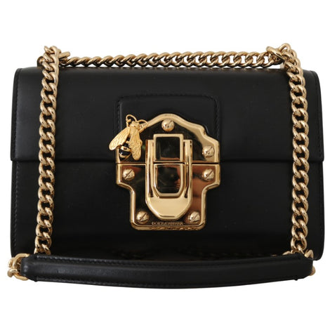 Dolce & Gabbana Black Leather LUCIA Shoulder Messenger Borse Purse