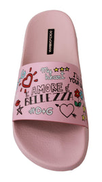 Dolce & Gabbana Pink Leather Beachwear  Soft Slippers - Women - Shoes - Flats - Dolce & Gabbana | Gethuda Fashion