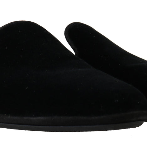 Dolce & Gabbana Black Velvet Suede Slides Slippers - Men - Shoes - Sandals - Dolce & Gabbana | Gethuda Fashion